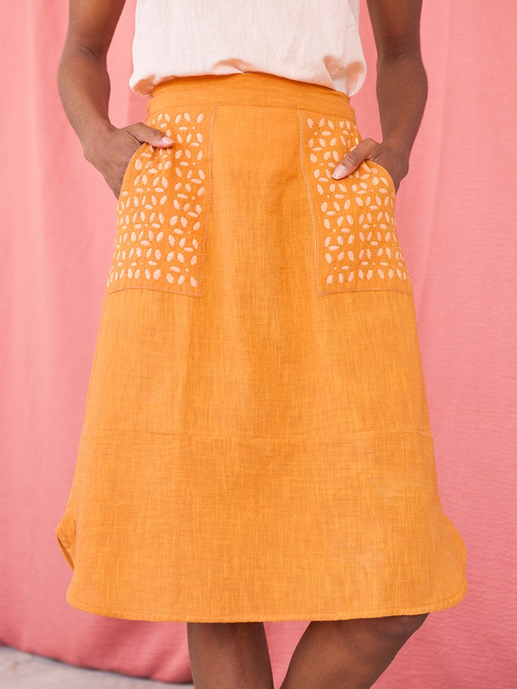 Image of Linen Laser Cut Skirt - Ochre