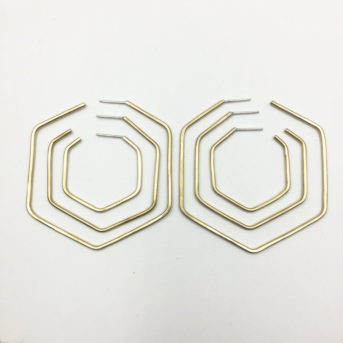 Image of Knuckle Kiss Hex Hoops