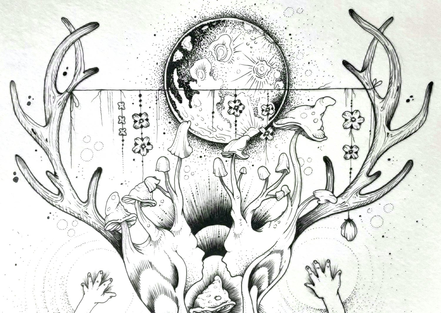 Image of Sacred Mushroom Original Drawing