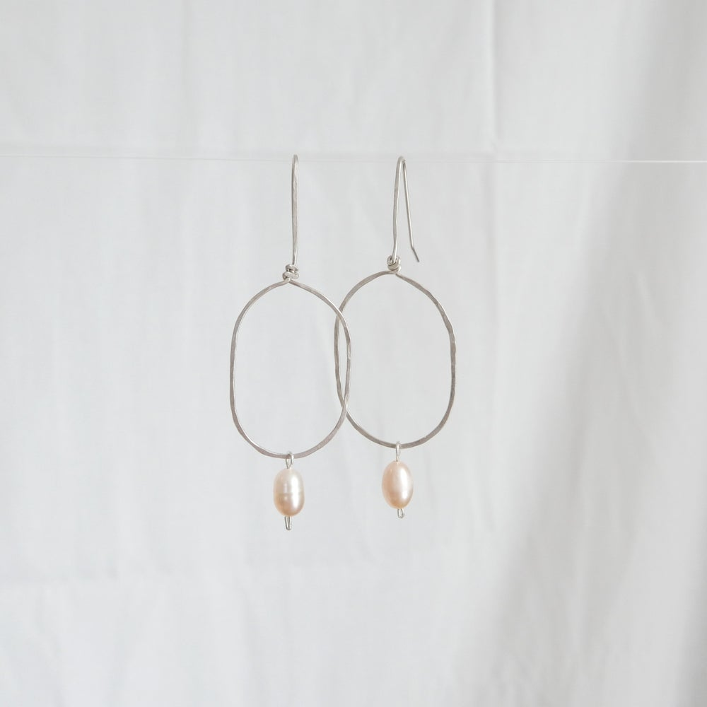Image of Eclipse Earrings + Peach Pearls