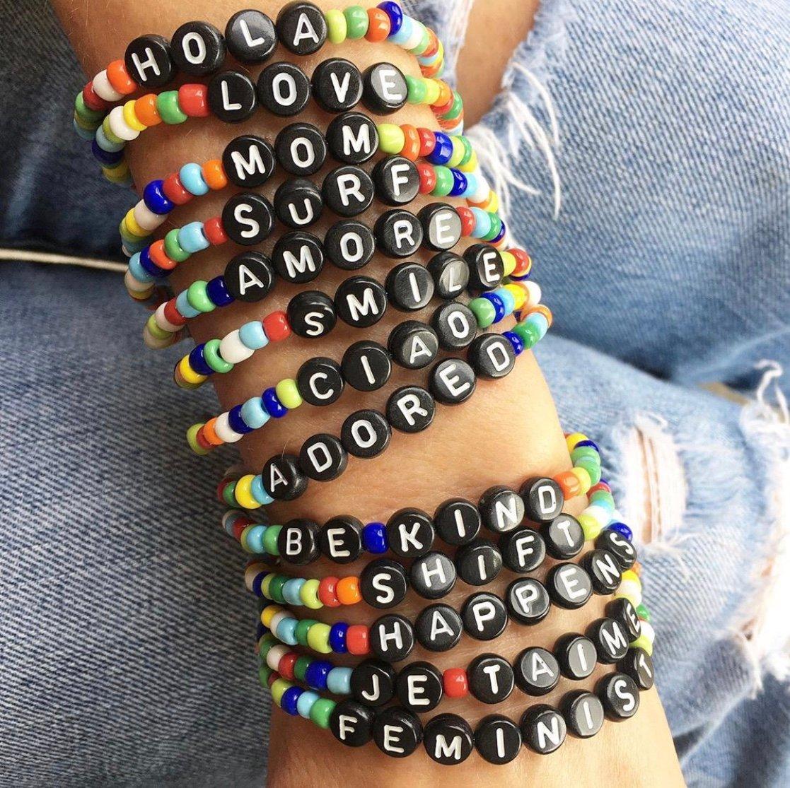 TenThings. RAINBOW. WORD. Black. Bracelet. B-BLKWRD