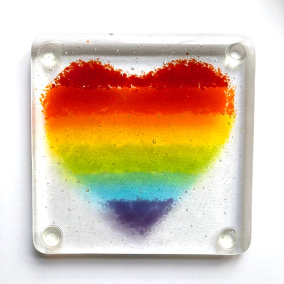 Image of Rainbow heart coasters