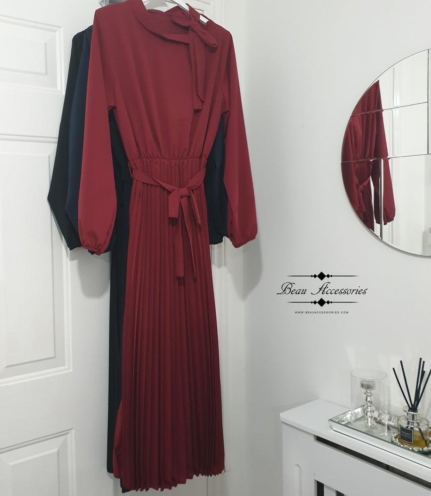 Image of Bow Tie Neck Pleated Maxi Dress