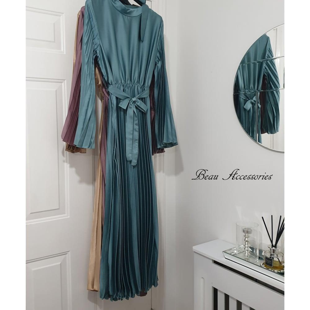 Image of Satin Pastel Pleated Maxi Dress