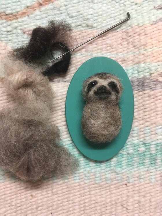Image of Felted Sloth Pin DIY Kit