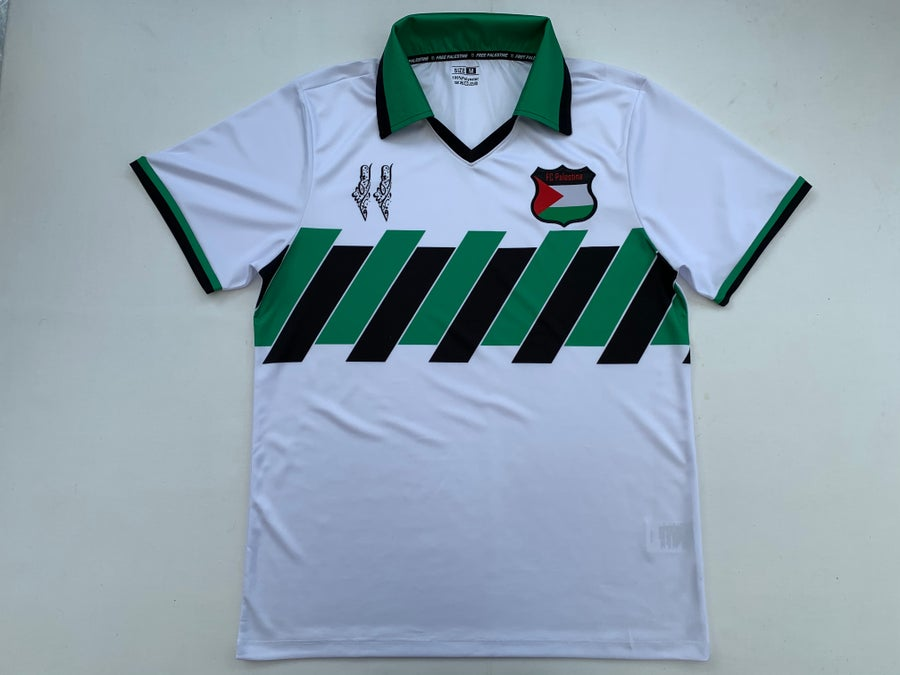 Image of Palestine white (Italian) retro football shirt
