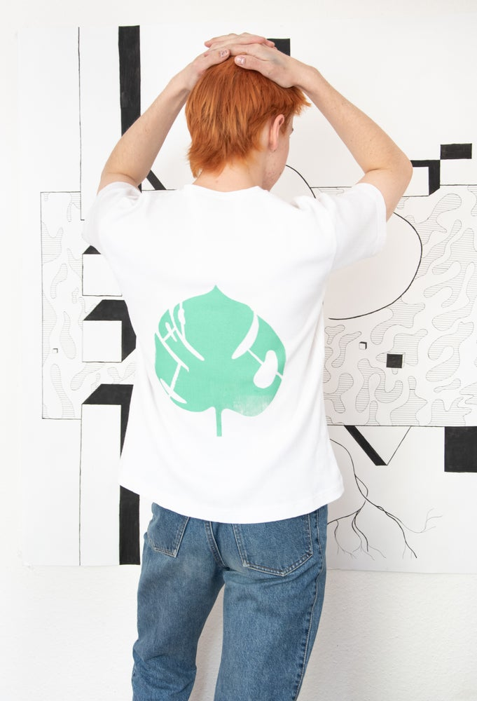 Image of t-shirt with monstera backprint