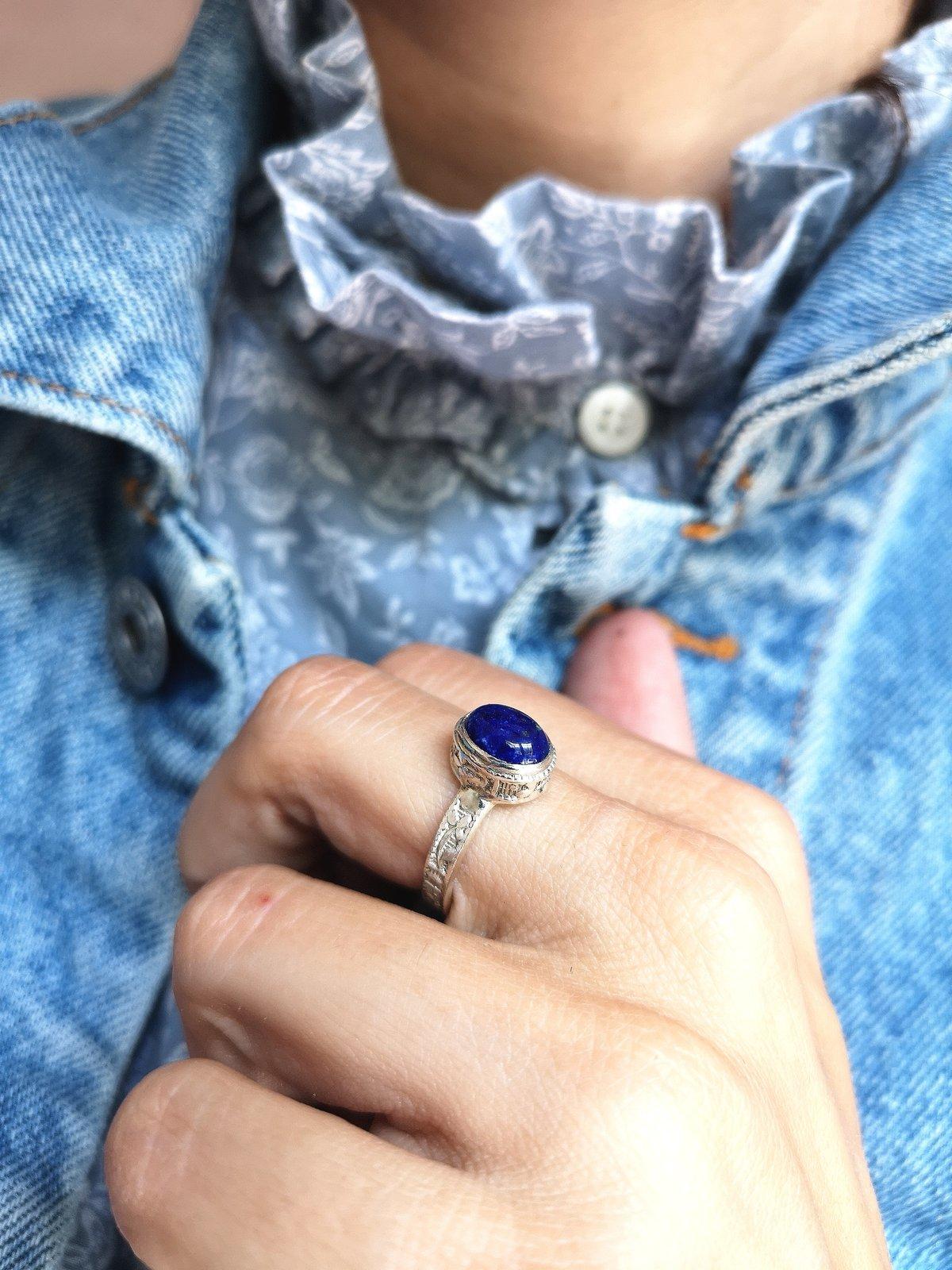Image of Bague Lapis Lazuli - taille 55.5 - ref. 5437