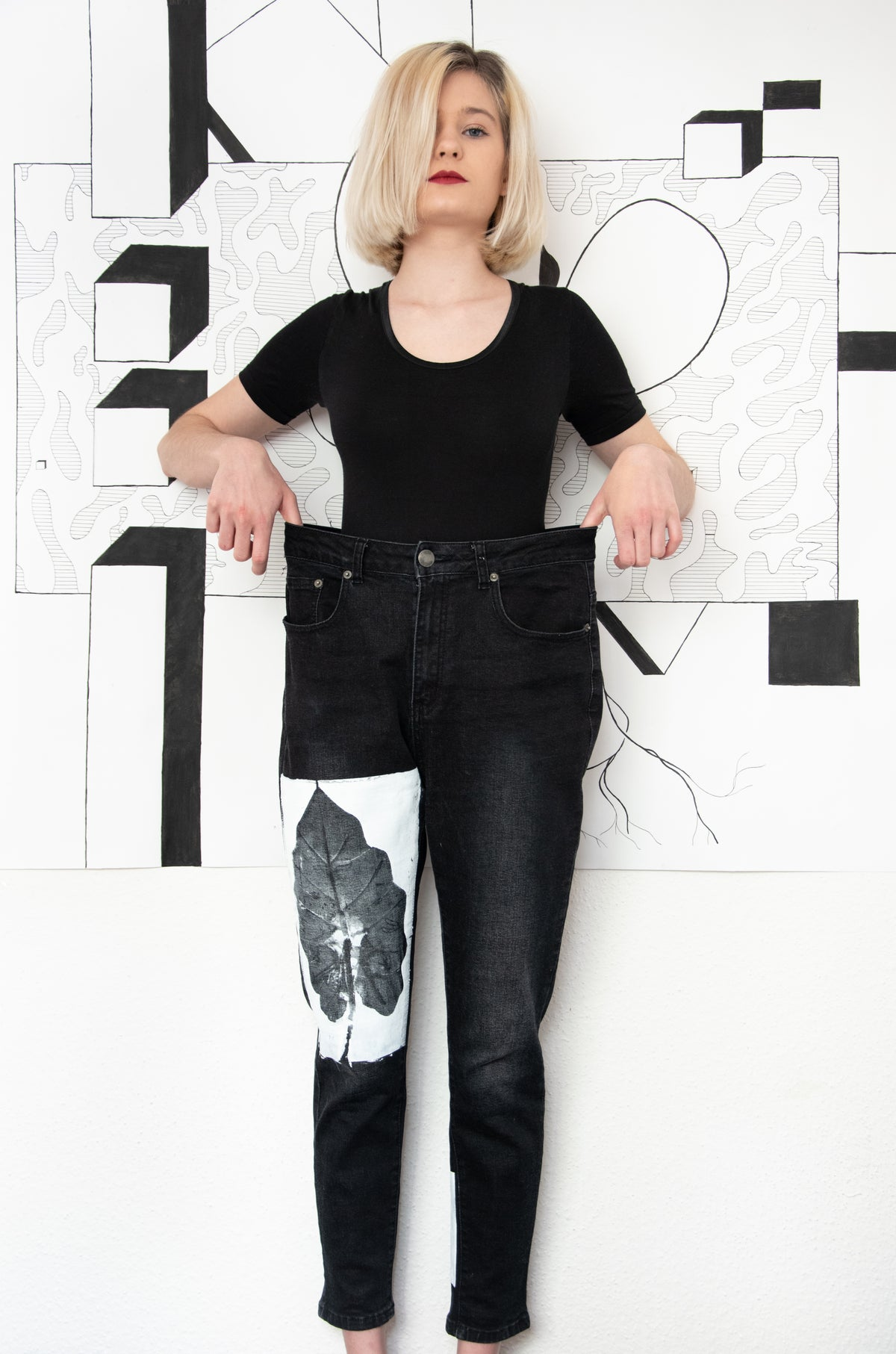 Image of jeans with prints