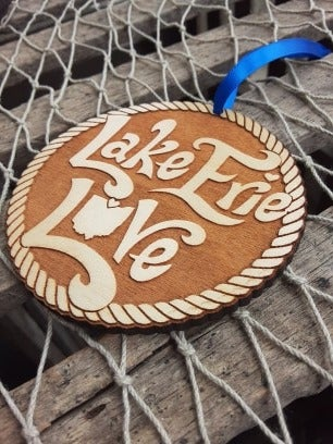 """Image of """"Lake Erie Love"""" Wooden Ornament"""