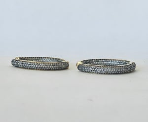 Image of White Topaz hoop earrings