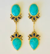 Image of Turquoise & Lapis  set in gold over silver