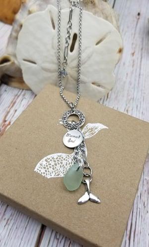 Image of Handmade Fine Silver Link- Sea Glass- Mermaid Soul- Mermaid tail- Necklace- #332