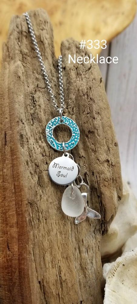 Image of Handmade Fine Silver Link- Sea Glass- Mermaid Soul- Mermaid Tail- Necklace- #333