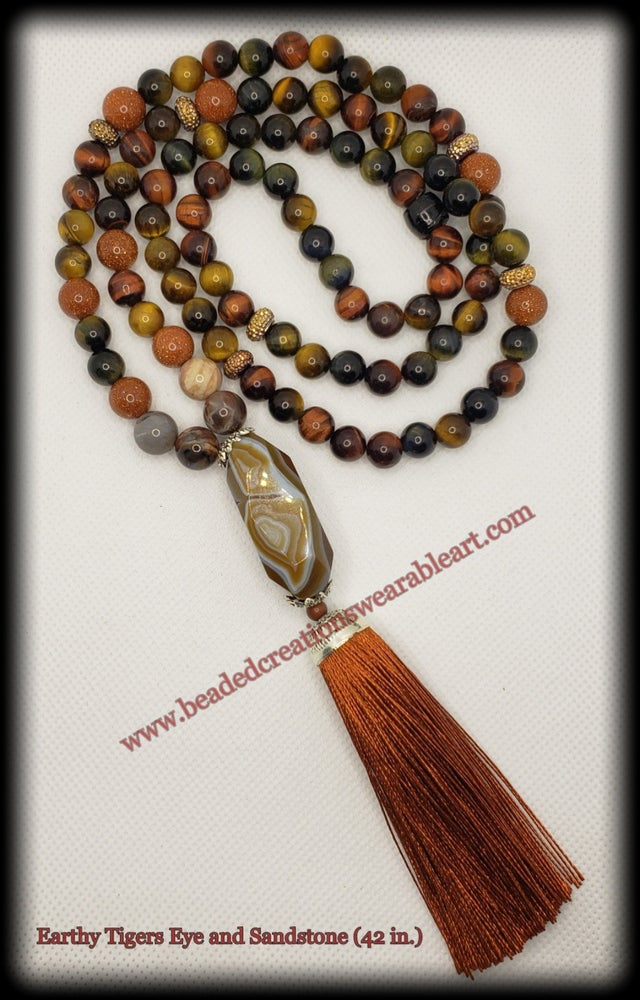 Image of Earthy Tigers Eye and Sandstone Necklace (42 in.)