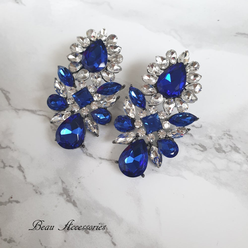 Image of Blue Crystal Statement Earrings