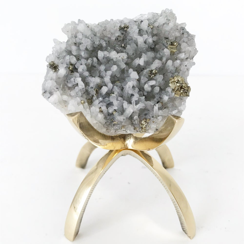 Image of Quartz/Pyrite no.01 + Brass Claw Stand