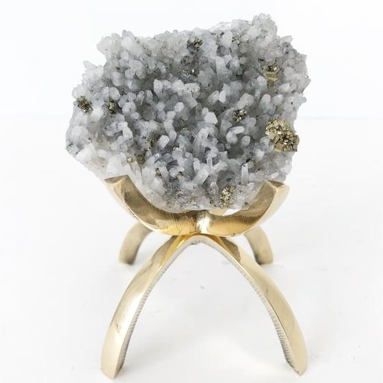 Image of Quartz/Pyrite no.01 + Brass Claw Stand