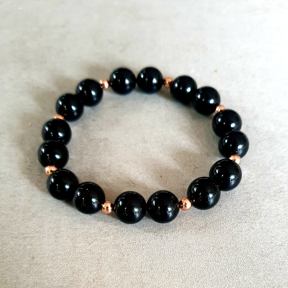 Image of BLACK ONYX & COPPER BRACELET - 6mm, 8mm & 10mm bead sizes