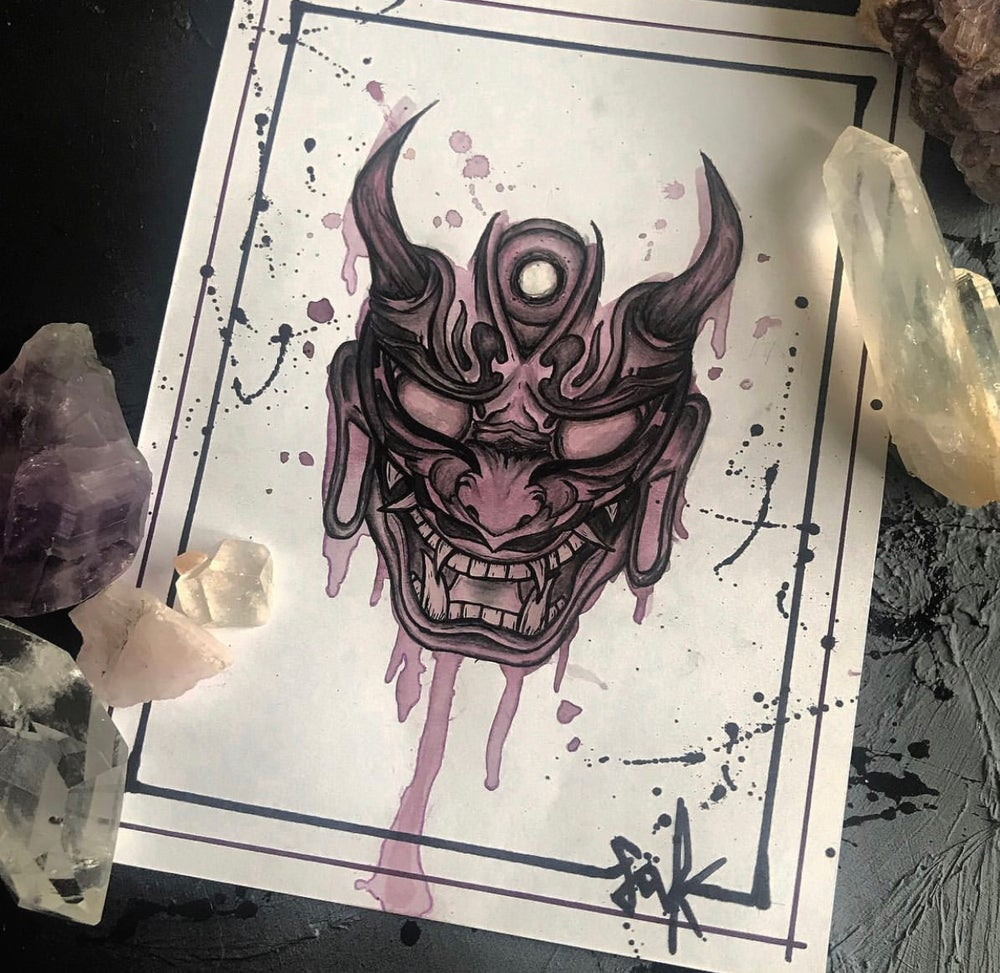 Image of Oni mask- original and prints