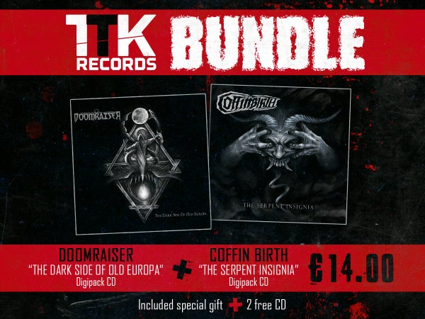 "Image of BUNDLE: COFFINBIRTH ""The Serpent Insignia"" +  DOOMRAISER ""The Dark Side of Old Europa"""