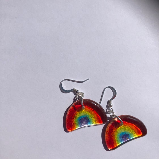 Image of Sterling silver tiny rainbow earrings
