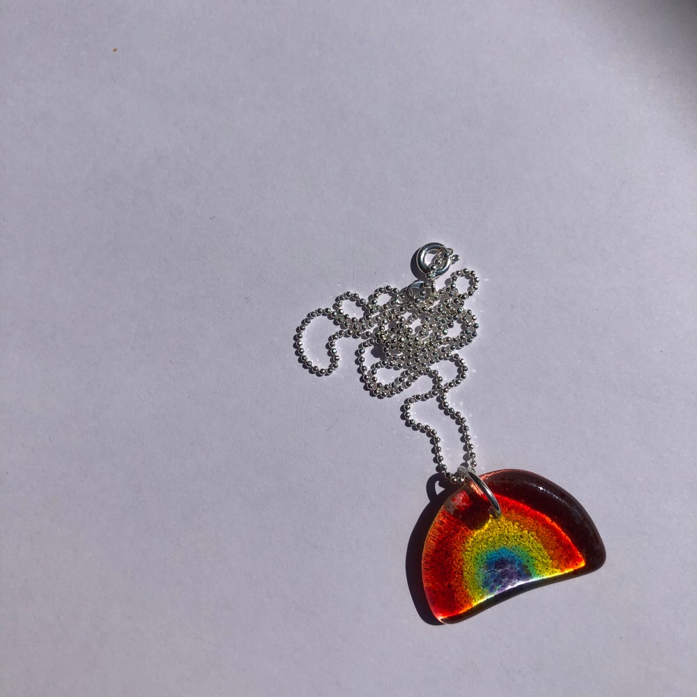 Image of Tiny hand made fused glass rainbow necklace