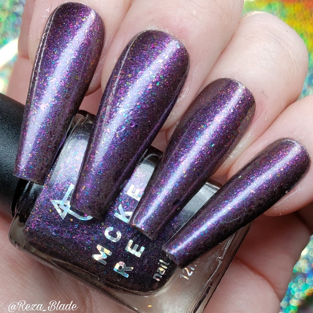 Image of MCKFRESH - Hey Kitty Girl -Blackened purple base with pink shimmer and rainbow sparkle flakies