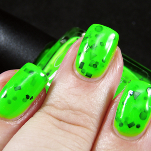 Image of Pond Scum Green – neon chartreuse with black holo and matte glitter