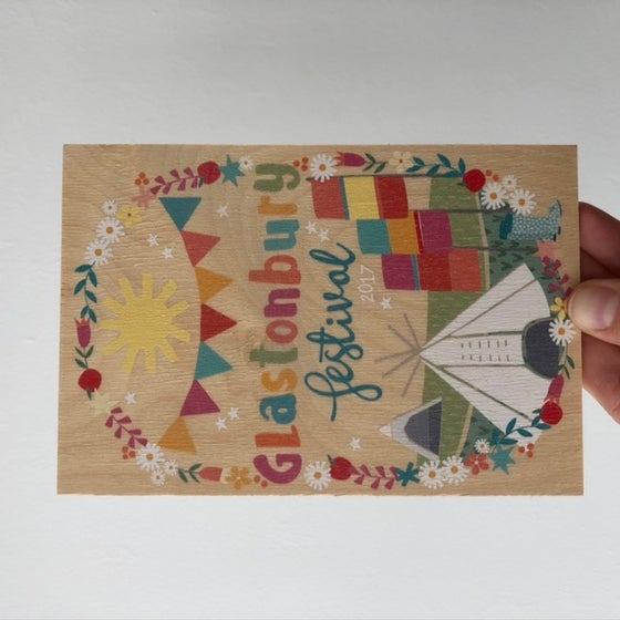 Image of Glastonbury Wooden Postcard 2017