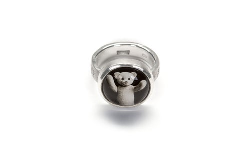 Image of teddy-bear's silver ring with photo, rock crystal CURA EXSUSCITAT