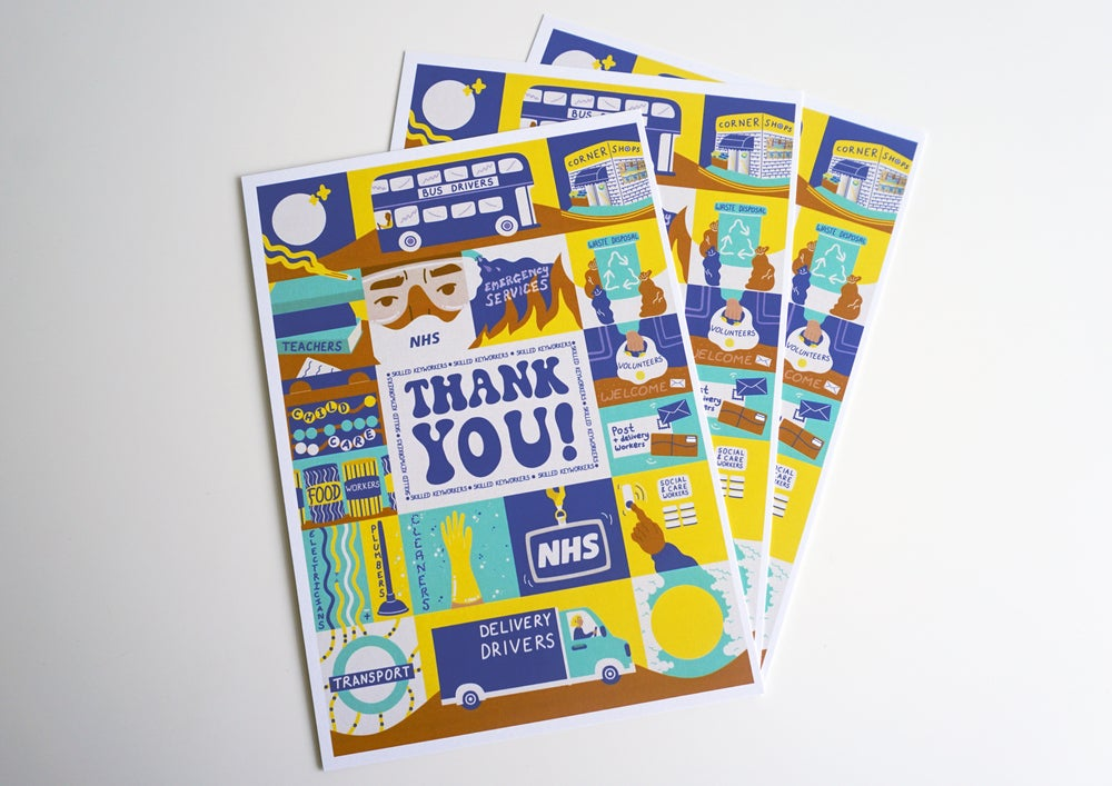 Image of 'THANK YOU!' SET OF 3 A5 POSTCARDS