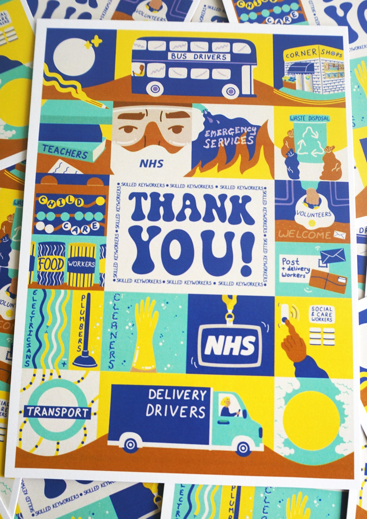 Image of 'THANK YOU!' A5 POSTCARD