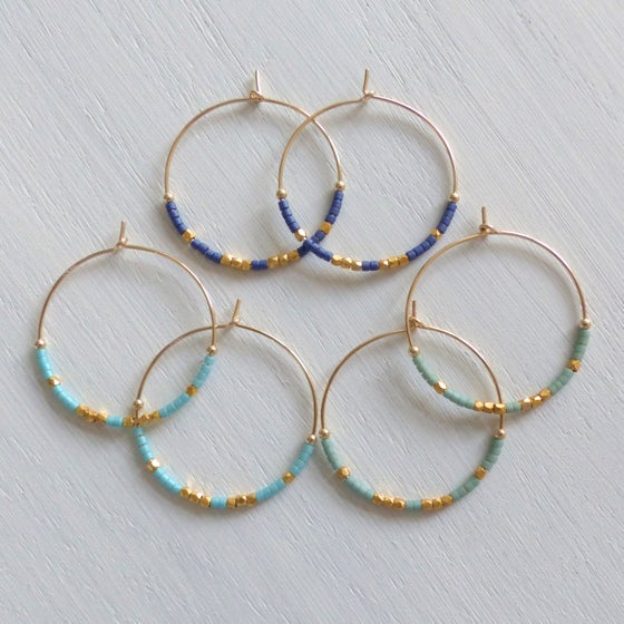 Image of Large Fair Trade Ocean Inspired Delica Hoop Earrings