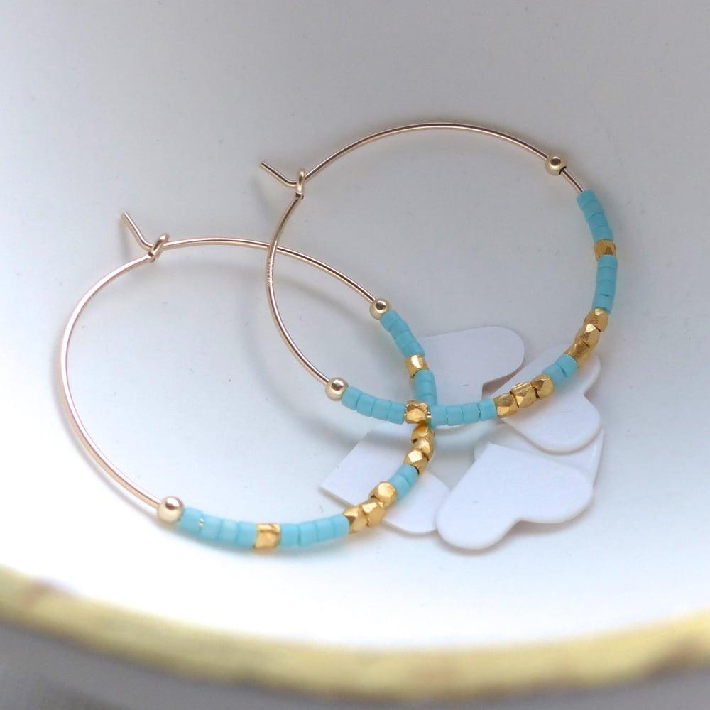 Image of Large Fair Trade Ocean Inspired Delica Hoop Earrings