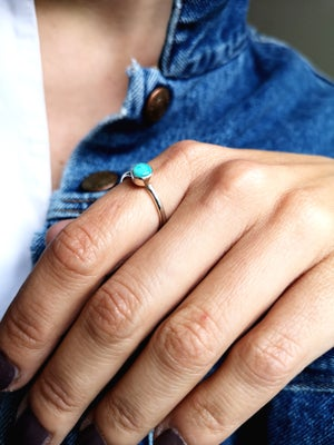 Image of Bague turquoise du Tibet - taille 55,5 - ref. 5794