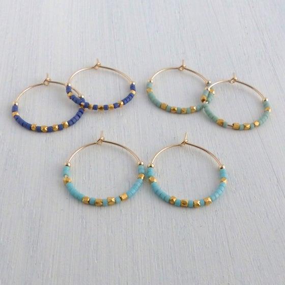 Image of Medium Fair Trade Evening Hoop Earrings