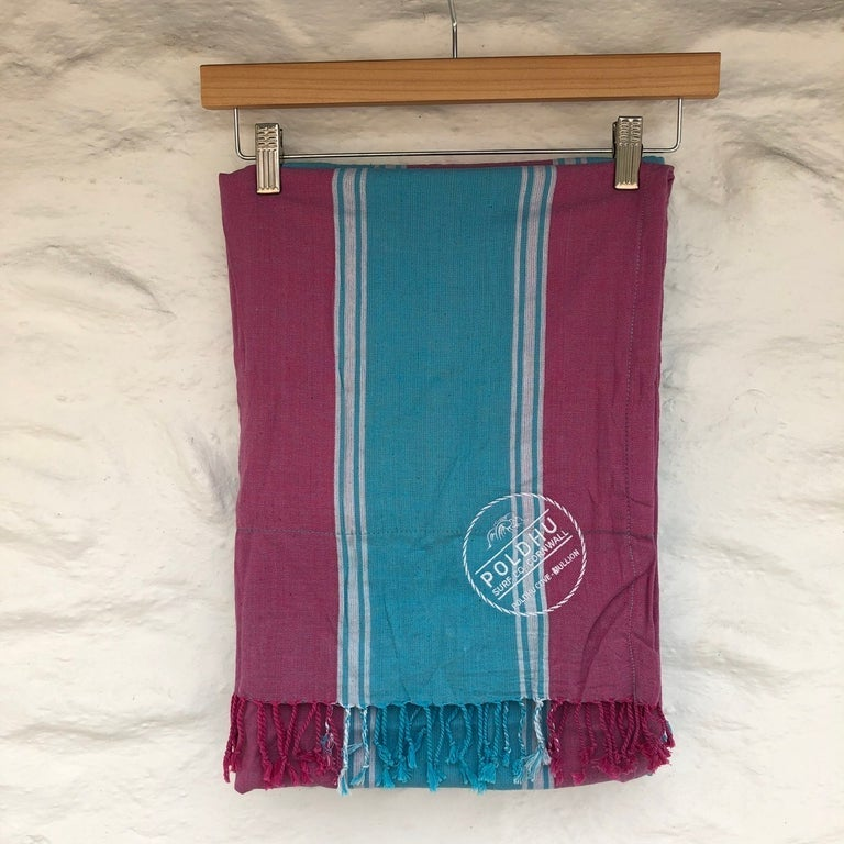 Poldhu Beach Wrap with Towel Back - Sky/Pink