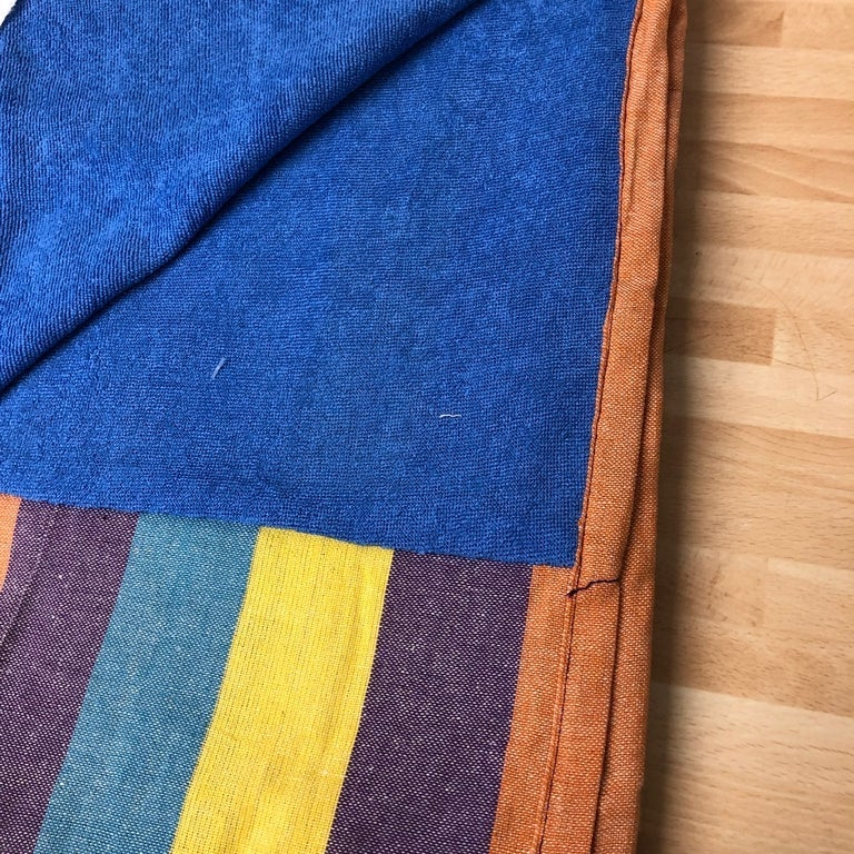 Beach Wrap with Towel Back - Mustard/Rust/Teal