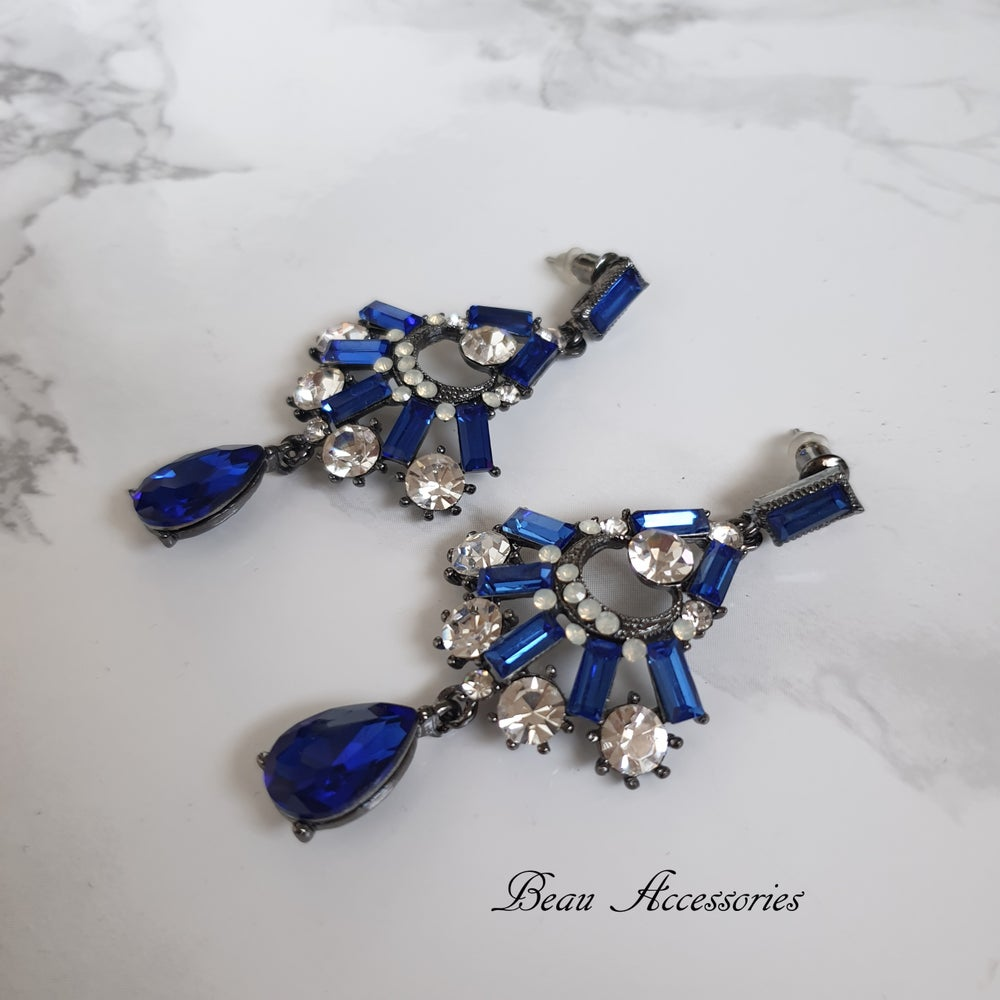 Image of Royal Blue Crystal Droplet Earrings