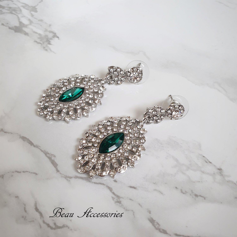 Image of Emerald Rhinestone Earrings