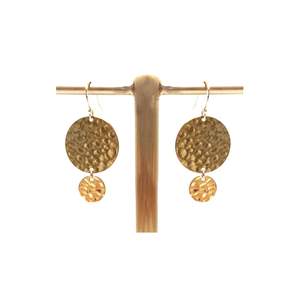 Image of Hammered Brass Earrings with Gold Filled Wire
