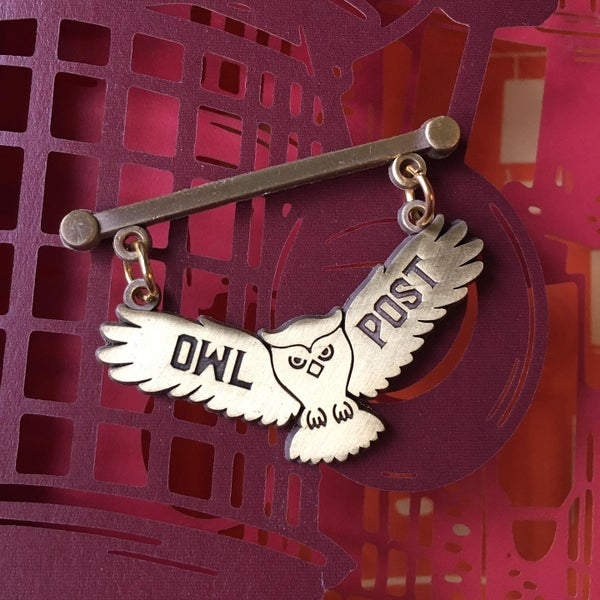 Image of Owl Post Office Sign Pin