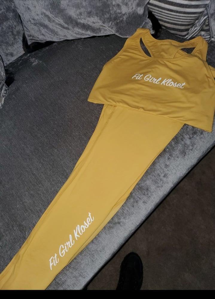 Image of Yellow crop and leggings set