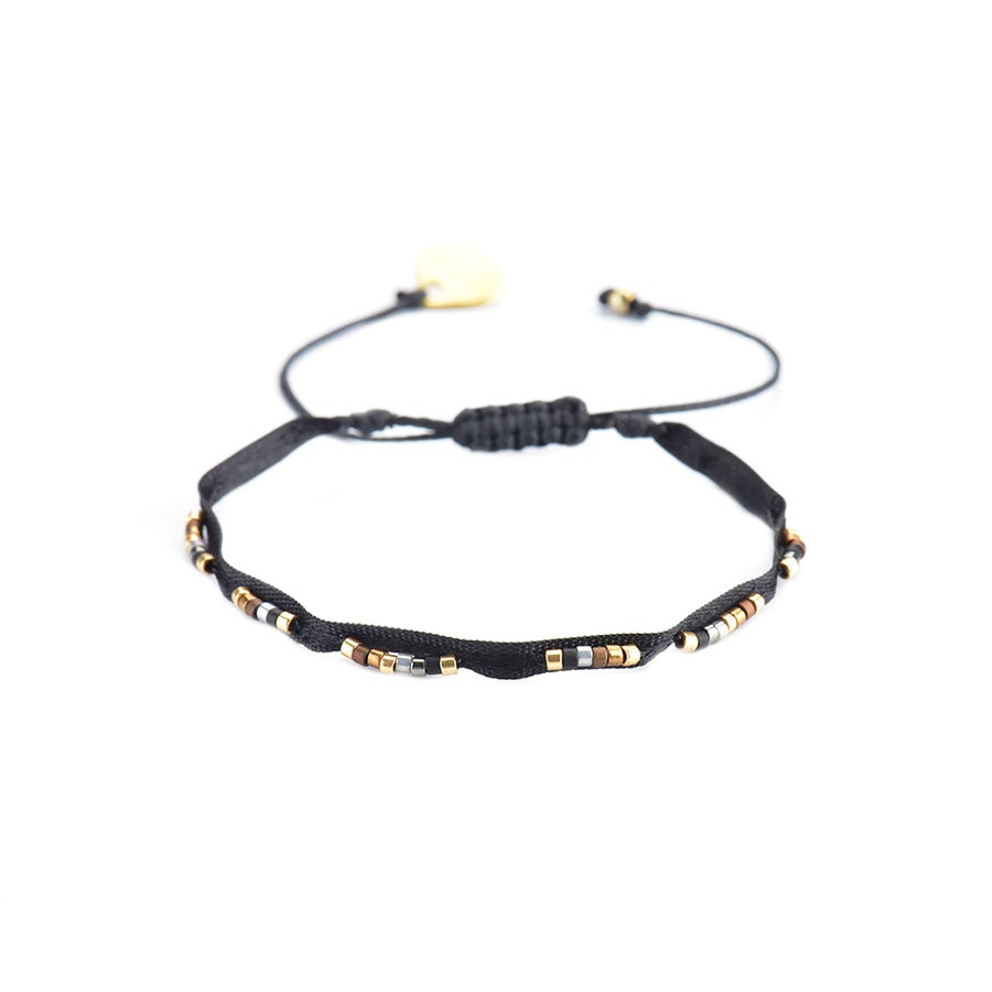Image of Black Adjustable Bracelet With Ribbon And Beads