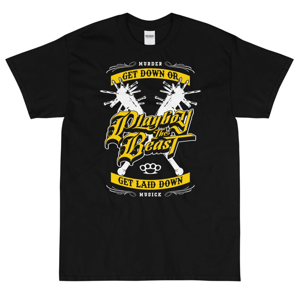 "Image of Playboy The Beast ""Get Down Or Get Laid Down"" T Shirt (YELLOW)"