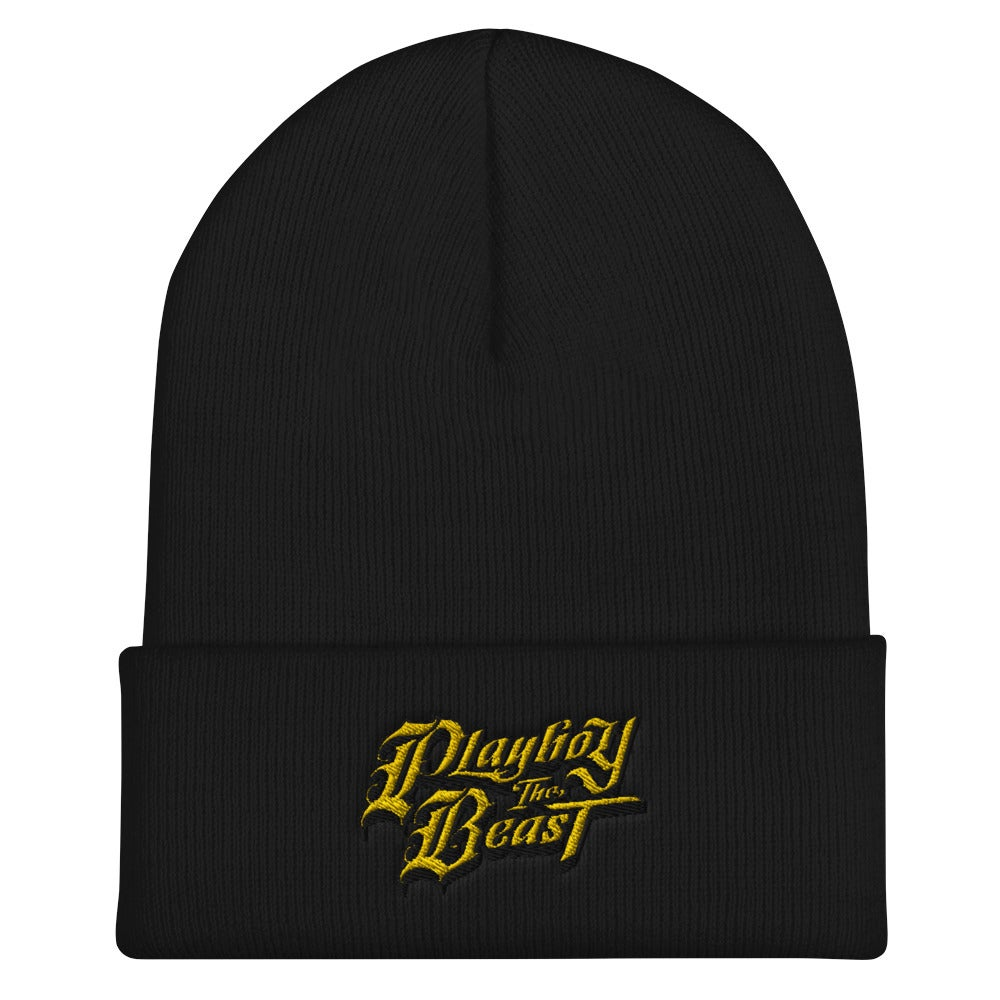 Image of Playboy The Beast Logo Beanie (YLW/BLK)