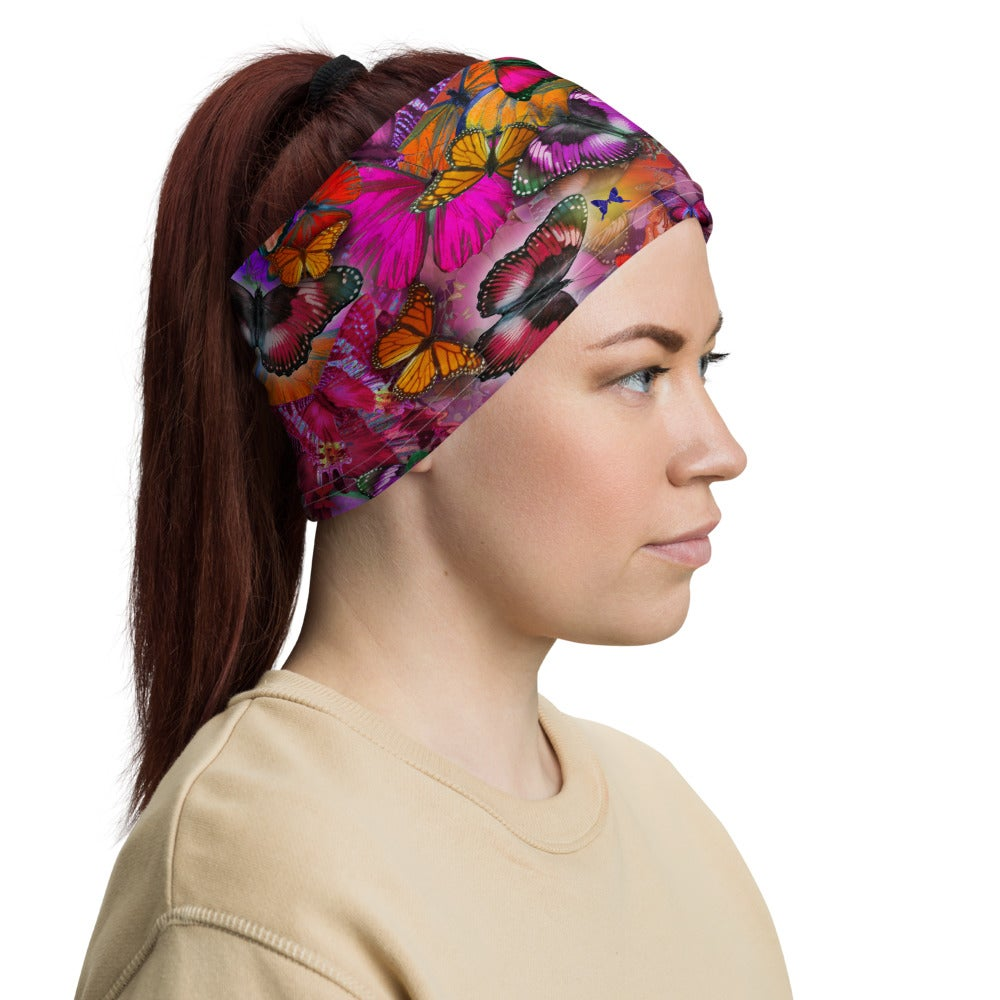 Image of Happy Pink Pollinator FaceCover / Neck Cover