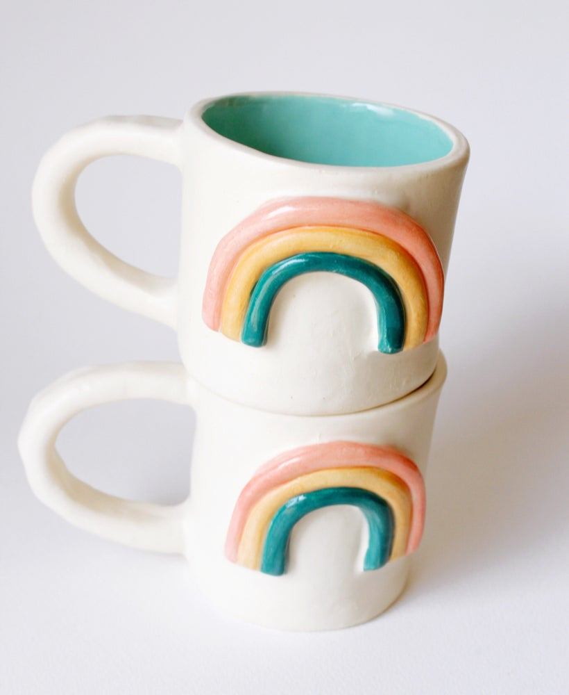 Image of Rainbow Mug 10 Oz Turquoise