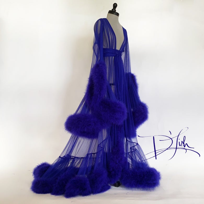 "Image of Cobalt/Royal Purple Deluxe ""Cassandra"" Dressing Gown"